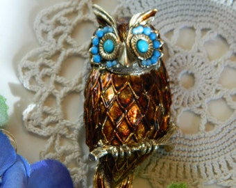 Vintage 70's Owl Pin Necklace