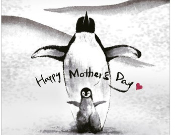A Unique Mother's Day Card with Penguin Illustration