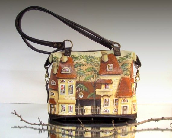 Large leather bag, leather handbag, with applique, bag with houses, painted houses, shoulder bag, dark brown bag, bright bag, loricate Tote