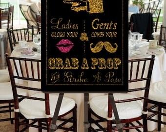 "Instant Download- Printable JPEG DIY Gold Glitter Effect & Pink Glitter Effect Lips Wedding Sign: ""Fancy Photobooth"" Large 20"" x 30"" Signage"