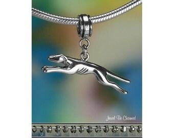 Running Greyhound Charm or European Charm Bracelet Sterling Silver 925