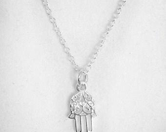 Sterling Silver Tiny Hamsa Necklace