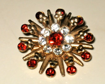 Vintage Starburst Ruby Red and Clear Rhinestone Brooch