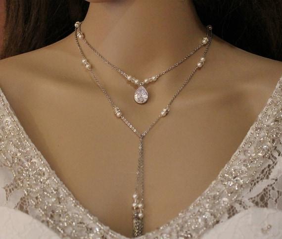 Collar de la boda empate bufanda Collar, largo collar de boda de la tarde de