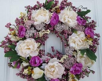 LUXE BERRY WREATH.....Spring Door Wreath....Berry Door Wreath..Interior Decor Wreath..Mother's Day Gift Wreath...Easter Decor Door Wreath...