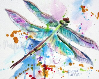 Dragonfly Watercolor Print from Watercolor Original Dragonfly Watercolor Painting 8 x 10 Watercolor.
