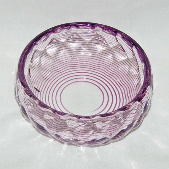 whitefriars deco glass bowl with purple by bygoneemporium