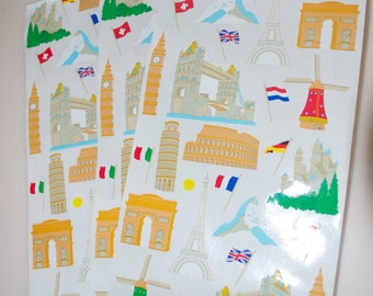 Mrs. Grossman's Europe Stickers England Germany Italy France Holland Flags Lot of 6 Squares