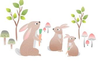 Children Wall Decals Bunnies Animals Nursery Wall Decals Baby Nursery Decals Woodland Nursery Decals Girls Wall Decor Kids Wall Decals Eco