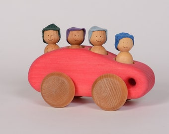 Red wooden minibus, wooden car, red car