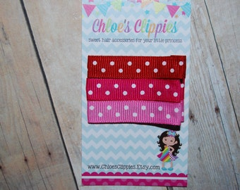 Valentine Hair Clips - set of 3 Clippies - Pink and White Polka Dot Hair Clips  - Red and White Polka Dot Hair Clips - Toddler Hair Clips