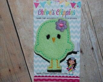 Easter Hair Clip - Easter Chick Hair Clip - Green Chick Clip - Felt Green Easter Hair Bow - Green Easter Basket Filler for Girls