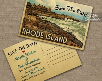 Rhode Island Save The Date Postcards - Printable Newport RI Postcard - Retro Rhode Island Save The Date Cards VTW