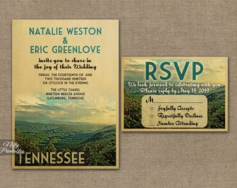 Tennessee Wedding Invitation - Printable Vintage Tennessee Smoky Mountains Wedding Invites - Smoky Mountains Retro Wedding Suite or Solo VTW