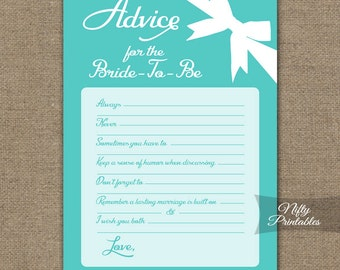 Bridal Shower Advice Cards - Turquoise Blue Bridal Shower Games - Instant Download - Printable Aqua Turquoise Bridal Advice Card - TFB