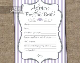 Bridal Shower Advice Cards - Lilac Silver Bridal Shower Games - Instant Download Lavender - Printable Purple Bridal Shower Advice Card - LGL