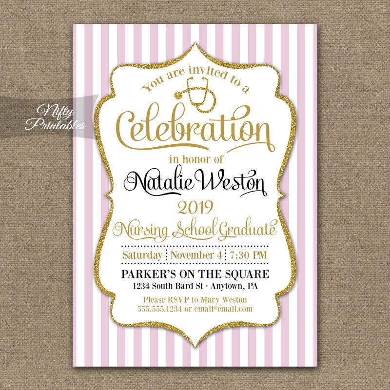 Free Printable Graduation Party Invitation Template Nurse