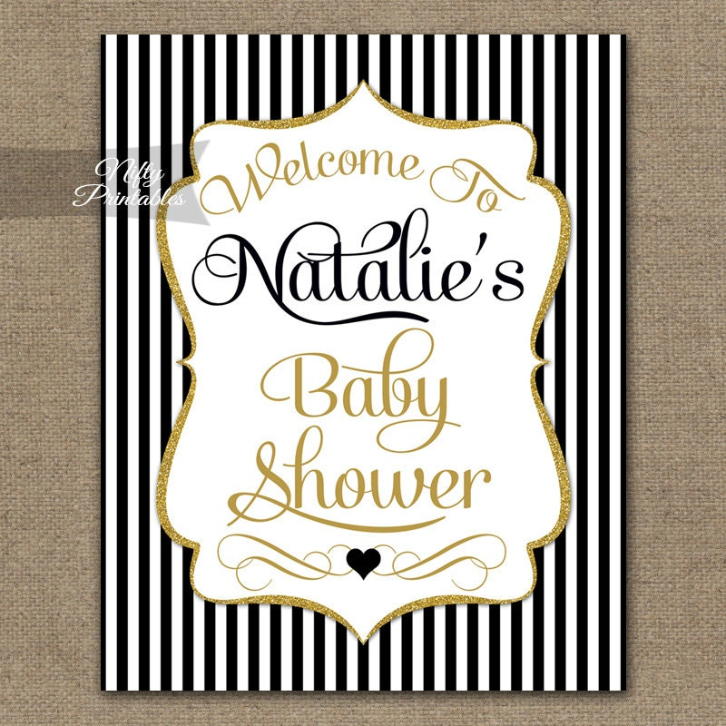 baby shower signs black gold baby shower welcome sign