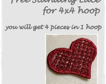 Free Standing Lace Heart 4x4
