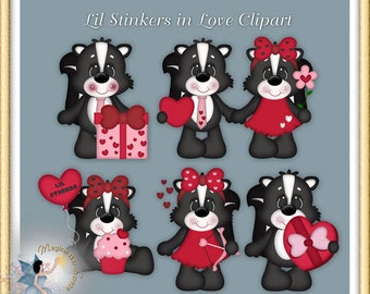 Valentine Skunk Clipart, Little Stinkers