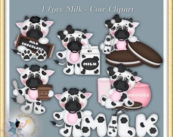 I Love Milk Cow Clipart