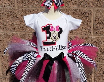 Minnie Mouse Zebra Birthday Number Tutu -Personalized Birthday Tutu,Sizes 6m - 14/16
