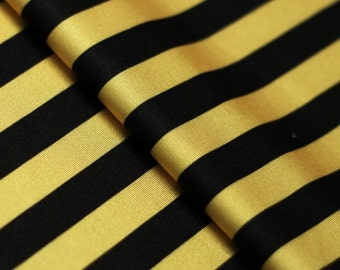 5 Yard/5 Meter Stretch Fabric - Stripe  Print, Gold and Black Striped Four way Stretch Spandex Fabric Item# RXPN-1/2-STRIP
