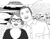 Custom Portrait, 2 people + landscape, digital drawing, unique gift for family, couple, birthday, wedding… ! Black & White