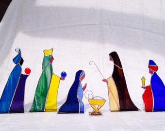 Nativity Set 6 piece Stained Glass