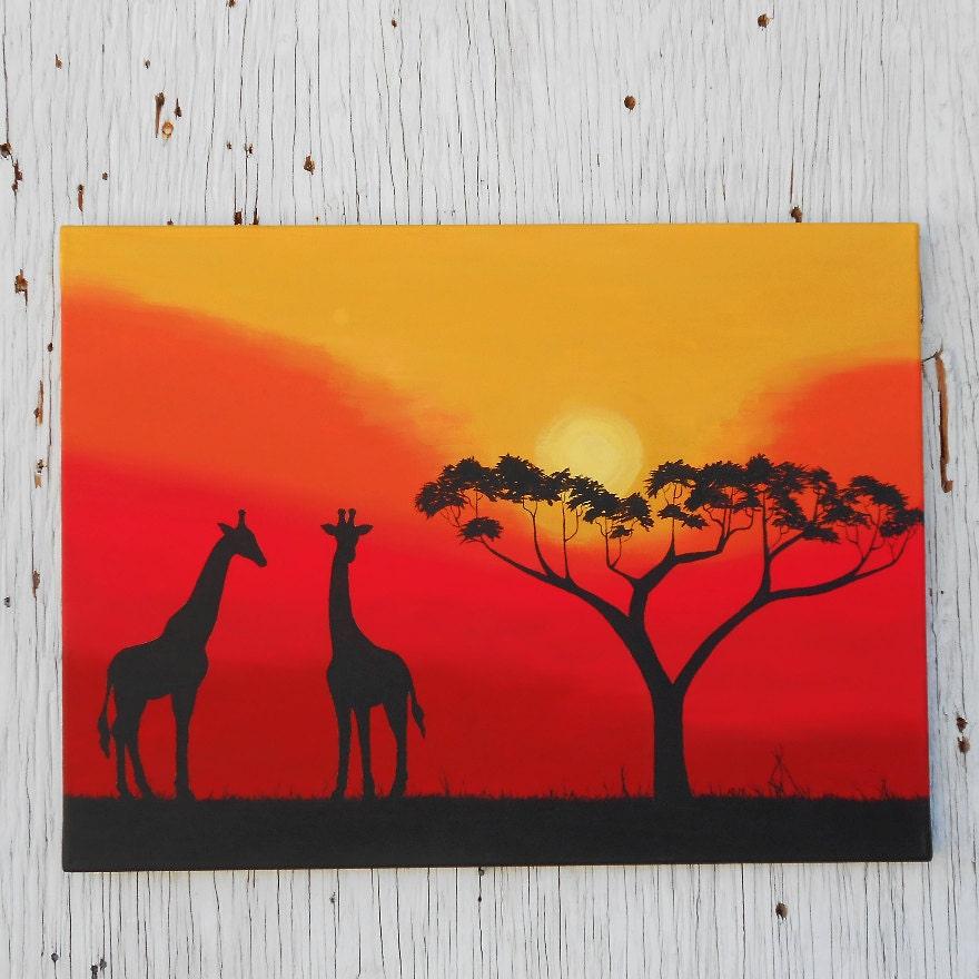African Sunset Silhouette Art Giraffe Painting Africa