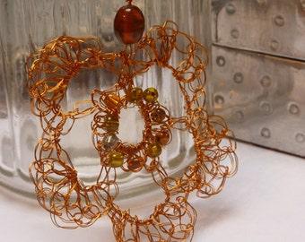 Crochet Wire flower Necklace: Gold wire flower pendant