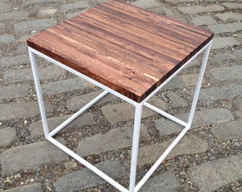 Reclaimed Pallet Wood and Steel White End / Side Table