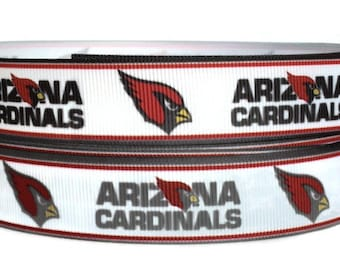 7/8 inch Grosgrain Arizona Cardinals Football Ribbon Trim By The Yard by KC Elastic Ties
