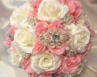 Brooch Bouquet, Pink & Ivory Brooch Bouquet, Bridal Bouquet, Available in White and Pink, Deposit Only, Full Price 160.00