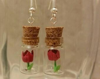 Origami tulip flower  in glass bottle earrings