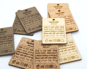 "50 Wooden Product Tags With Care Instructions, 1.4 x 2.1"" Laser Cut and Engraved to your specifications"