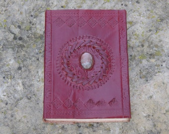 Handmade Leather Travel notebook Journal Diary Sketchbook Notebook Handmade Paper Hand Enbossed ,Inlaid Stone
