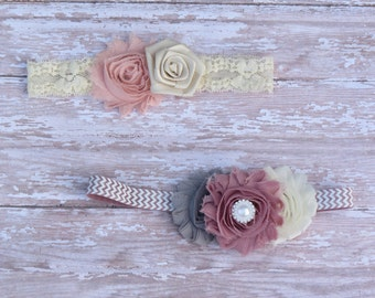 VINTAGE SET-Baby headbands-infant headbands-newborn headband-baby girl-toddler headband-headband-baby bow-headbands-vintage headbands-shabby