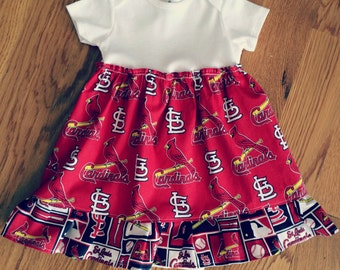 Infant Girls St. Louis Cardinals Dress, Bodysuit Dress, Cardinals Dress, STL Baby, STL Cardinals Baby, Newborn to 24 months