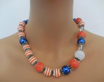 Blue and Orange Bubble gum Necklace