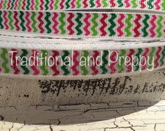 "3 yards 3/8"" CHRISTMAS GLITTER CHEVRON Grosgrain Ribbon"