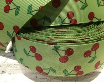 "1 yard 1.5"" Cherry Fruit on Green Preppy Grosgrain Ribbon sold by the yard"
