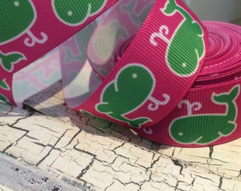 """3 YARDS 1"""" Whale Hot Pink and Green grosgrain ribbon"""