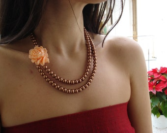 Gorgeous Salmon Flower Statement Necklace Inspired by Vintage Glamour.Double Strand Pearl Jewelry.Bridesmaid Gift.Mother's Day Gift.