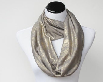 Golden gray infinity scarf - soft jersey knit loop scarf circle scarf grey and gold - Christmas and New Year party fashion scarf