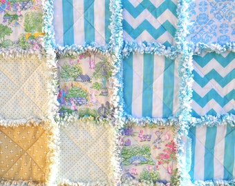 FREE SHIPPING-Easter Rag Quilt-Perfect Gift for yourself or someone else-Makes a great Easter decoration!
