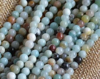 """6mm Amazonite Beads, Gemstone Beads, Mixed Amazonite, 6mm Beads,One Strand, 15.5"""", Beading Supplies, Semi precious, Bohemian, Tribal, Ethnic"""