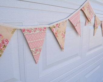 Tea Party Old Fashioned Floral Pennant Banner - 11 Large Flags - Bunting - Pink - Yellow - Flowers