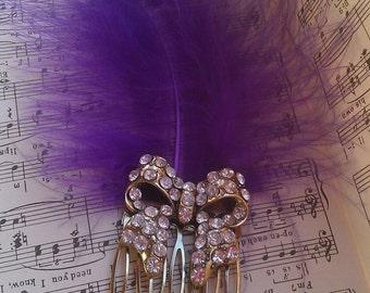 Feathery Fancies- diamante bow & rich purple marabou feather hair comb
