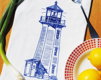Blue Lighthouse Kitchen Tea Towel - Flour Sack Kitchen Towel - Absorbent Hand Towel - Nautical Wedding Shower Gift - Nautical Theme